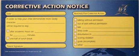 Corrective Action Notice from Accelerated Christian Education