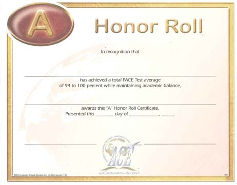 "Honor Roll Certificate ""A"" 94-100 from Accelerated Christian Education"