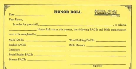 Honor Roll Projection Form from Accelerated Christian Education