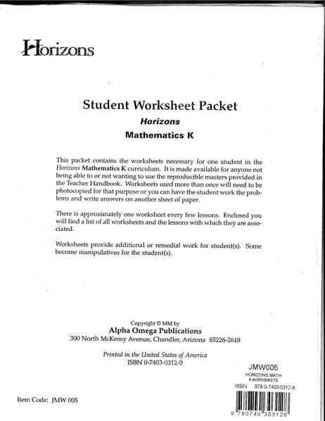 Horizons Kindergarten Math Student Worksheet Packet from Alpha Omega Publications