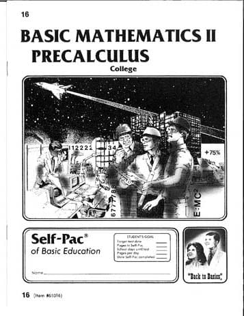 PreCalculus Pace 20