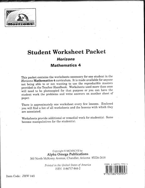 Horizons 4th Grade Student Worksheet Packet from Alpha Omega Publications