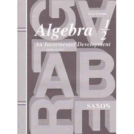 Algebra 1/2 Third Edition Homeschool Packet w/Test Forms and Answer Key from Saxon Math