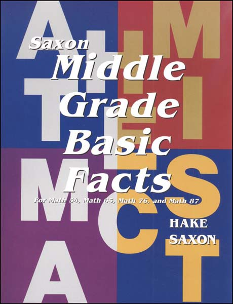 Middle Grade Basic Fact Cards from Saxon Math