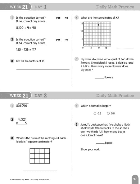 Daily Math Practice Grade 4 from Evan-Moor