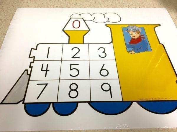 Kindergarten Number Train Cards